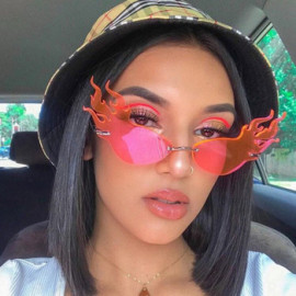 2020 New Arrivals High Fashion Luxury Trendy Unique Fire Rimless Frames Men Ladies Party Shades Sunglasses