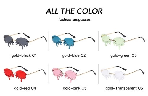 Hot Sale Fashion 2020 Rimless Frames Tinted Fire Dripping Shape Trendy Women Sunglasses