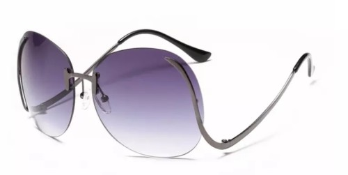 2020 Designer Newest Fashion Bend Leg Trendy Colorful Lens Women Big Shade Oversized Rimless Sunglasses