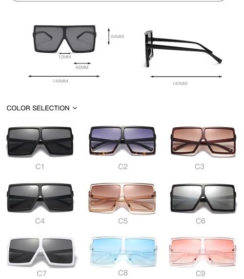 Fashion Designer Trendy Plastic Saqure Big Frame Oversized Wholesale Gafas Custom Sun Shades Sunglasses