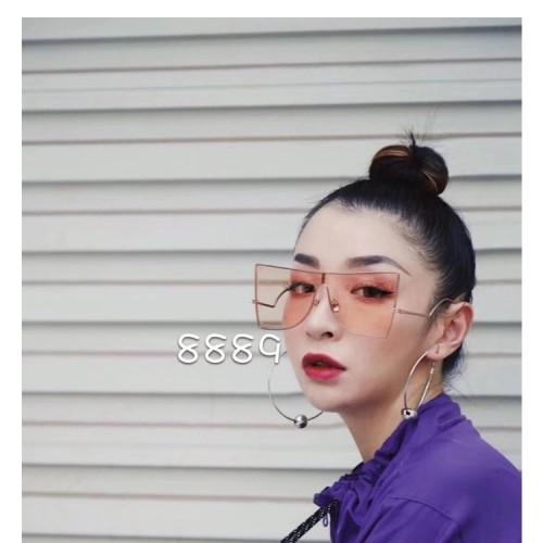 Luxury Brand Designer Visor fashion Square Metal Trendy Oversized Women Shades Ocean Lens Sunglasses 2019
