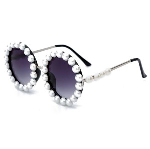 Luxury Party Fashion Vintage Retro Round Metal Frame Trendy Diamond Women Shades Sunglasses