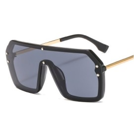 Oversize Rimless Women Vintage Glasses Fashion Shades Mirror Letter F Sunglasses