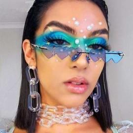 2020 Wholesale Fashion Designer Brand Rimless Metal Frame Small Heart Shaped Women Trendy Shades Sunglasses