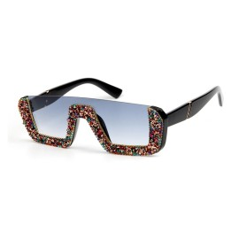 Brand Designer Luxury Square Women Ladies Oversized Sunglasses with Rhinestones