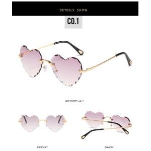 2020 Fashionable Ladies UV400 Rimless Sunglasses Women Heart Sunglasses