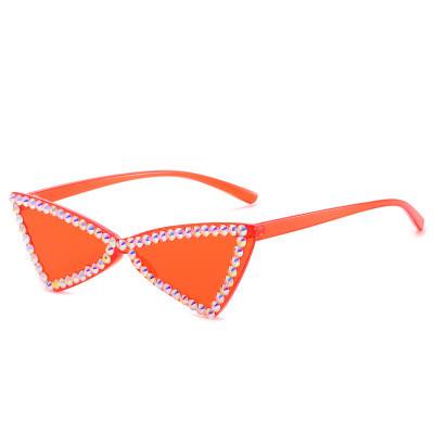 Wholesale 2020 Fashion Womens Triangle Luxury Shades Bling Diamonds Crystal Sunglasses