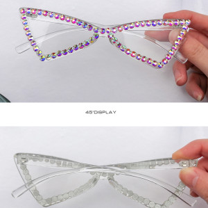 Wholesale 2020 Fashion Womens Triangle Luxury Shades Bling Diamonds Crystal Sunglasses