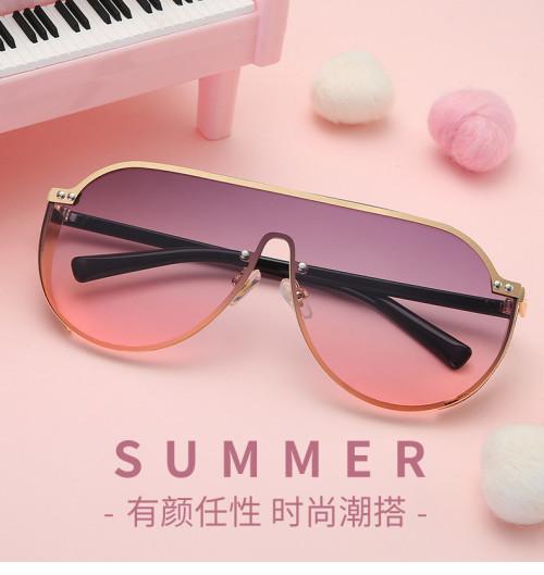 2019 New Fashion Luxury Women Rhinestone Flat Top UV400 Oversized Shield Style Sunglasses