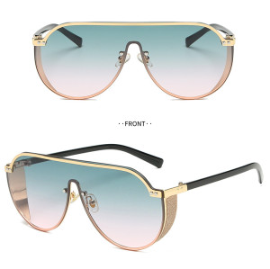 2019 New Fashion Luxury Women Rhinestone Flat Top UV400 Oversized Shield Style Sunglasses