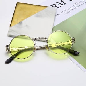 Steampunk Sunglasses Round Designer Metal Women Coating Men Retro Sunglasses