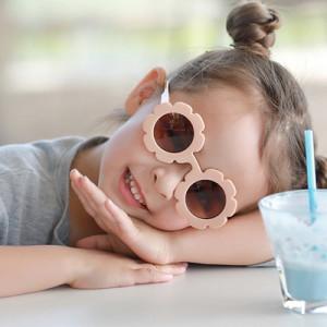 hot selling block uv flower pattern trending fall folding kids sunglasses