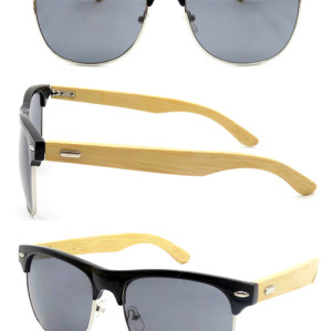Fashion fake wood PC sunglasses with metal spring hinge cheap sunglasses