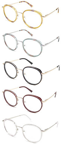 Acetate round shape hot selling  glasses with metal temple