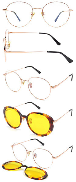 Metal hot selling clic on  sunglasses with polarized lens