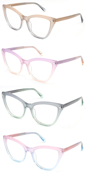 Acetate hot selling  progressive color optical frame with beautiful pins