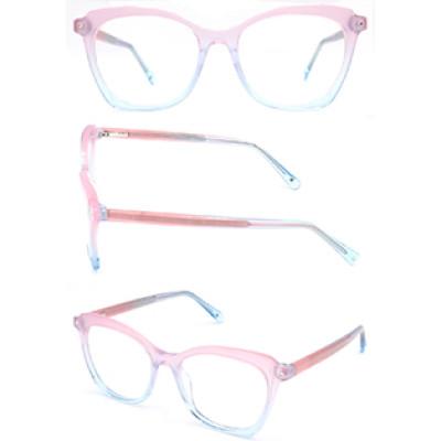 Hot selling cat eye progressive clear women acetate optical frame glasses