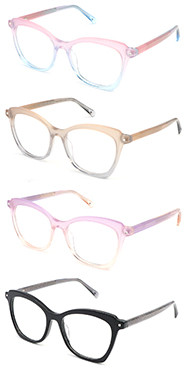Hot selling cat eye progressive clear women acetate optical frame glasses