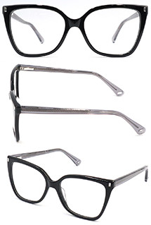 Hot selling cat eye black acetate optical frame glasses for women