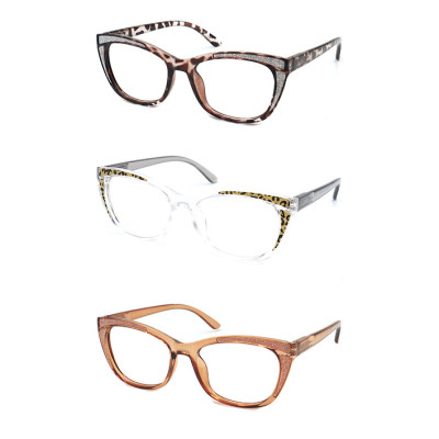 PC fashion flurence reading glasses with plastic spring hinge