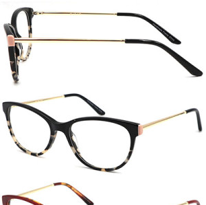 high quality acetate optical frame with metal temple
