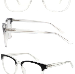Wholesale 2021 Double Color Adult Acetate Injection Optical Frame With Metal Spring Hinge