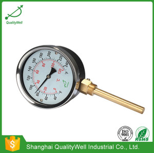Bottom connection hot water bimetal thermometer IH series