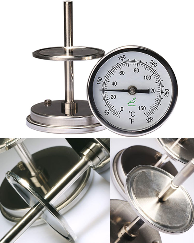 back connection bimetal thermometer T series T400CF Flange mounted bimetal thermometer