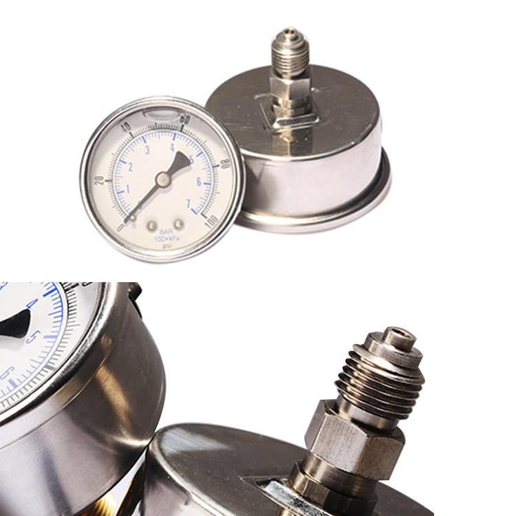 back connection oil filled pressure gauge PG400OV