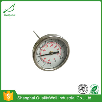 50mm diameter pocket bimetal thermometer with thread