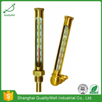 Round glass thermometer with protective case RGT