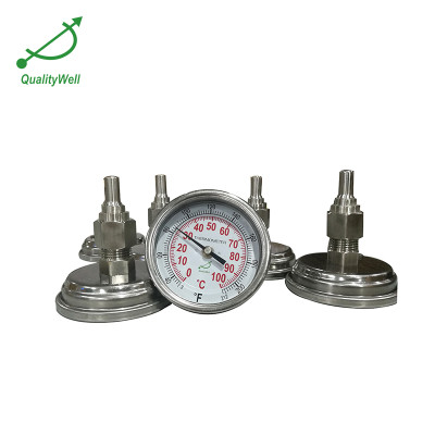 Bimetal thermometer with bar thermowell