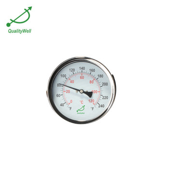 Back connection hot water bimetal thermometer T400H
