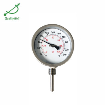 All stainless steel hot water heater thermometer