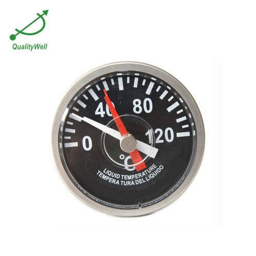 Side mounting bimetal thermometers with thermowell and reset-able maximum temperature pointer