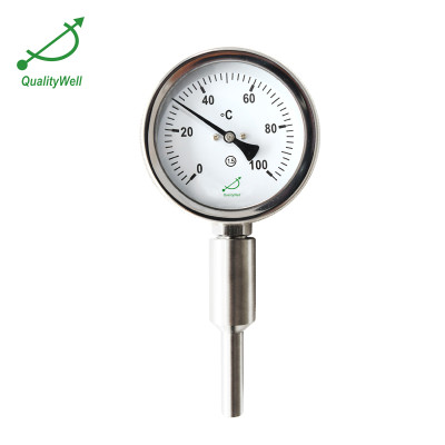 Mechanical engineering bimetal thermometer with customized  thermowell