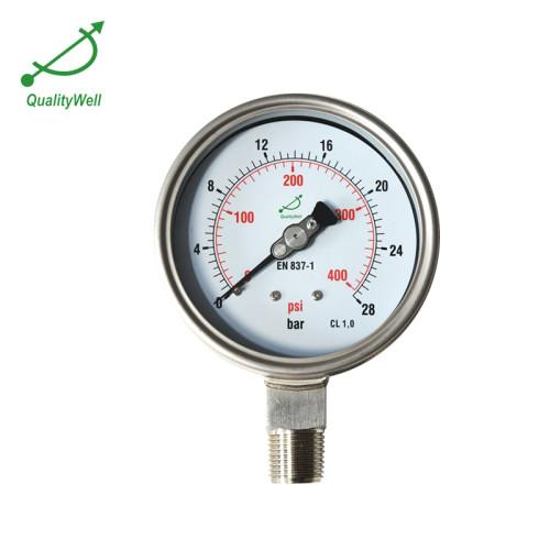 "2.5""Dail All Stainless Steel Fillable Pressure Gauge PG221BVNED"