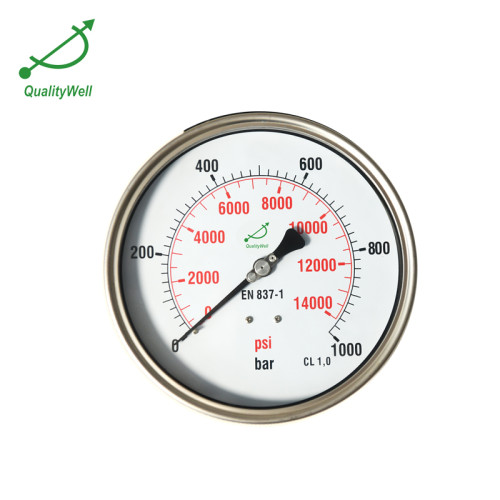 """6""""Dail All Stainless Steel Fillable Pressure Gauge PG600BLNED"""