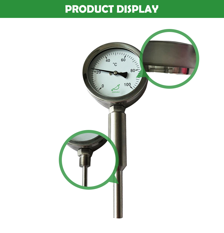 Mechanical engineering bimetal thermometer with customized  thermowell I400E-TW