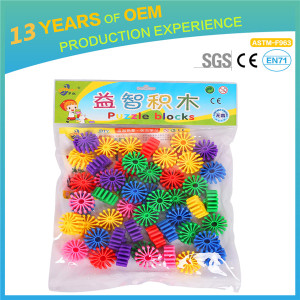 Hight quality plastic wheels blocks toys, colorful stack building block for kids