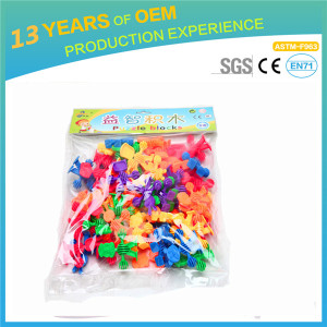 63pcs lot 3D Animal Blocks, Children Animals plastic 3D Puzzles, Educational DIY PlasticToys 500g
