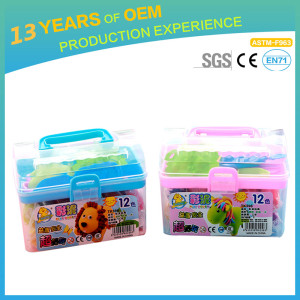 Kid modeling clay factory provide baby colored clay with clay tool set in suitcase