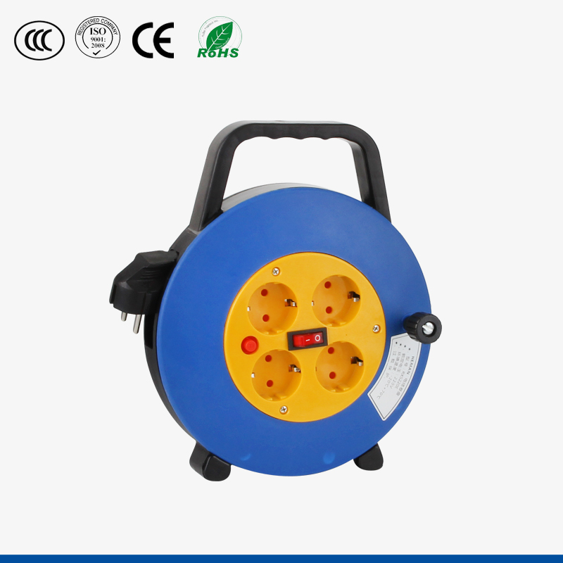 10m European Standard 4 Sockets Outlets Plastic Cable Reel