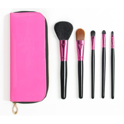 quality 5pcs makeup brush set with PU pouch for home and travel