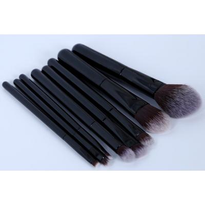 black color high quality 8pcs makeup brush set wood handle OEM service