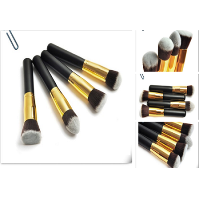 Whosale Price 4 pcs Short Black And Gold Cosmetic Brush Set