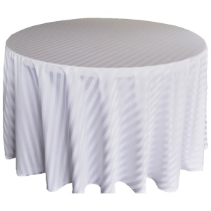 Fancy 120''R Polyester Jacquard Stripped Round White Tablecloth
