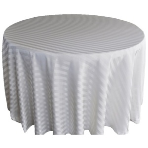 Fancy 120''R Polyester Jacquard Strip Round Ivory Tablecloth
