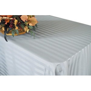 Fancy 120''R Polyester Jacquard Strip Rectangle Ivory Tablecloth