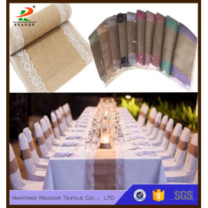 Colorful Burlap Table Runners With Lace Edge